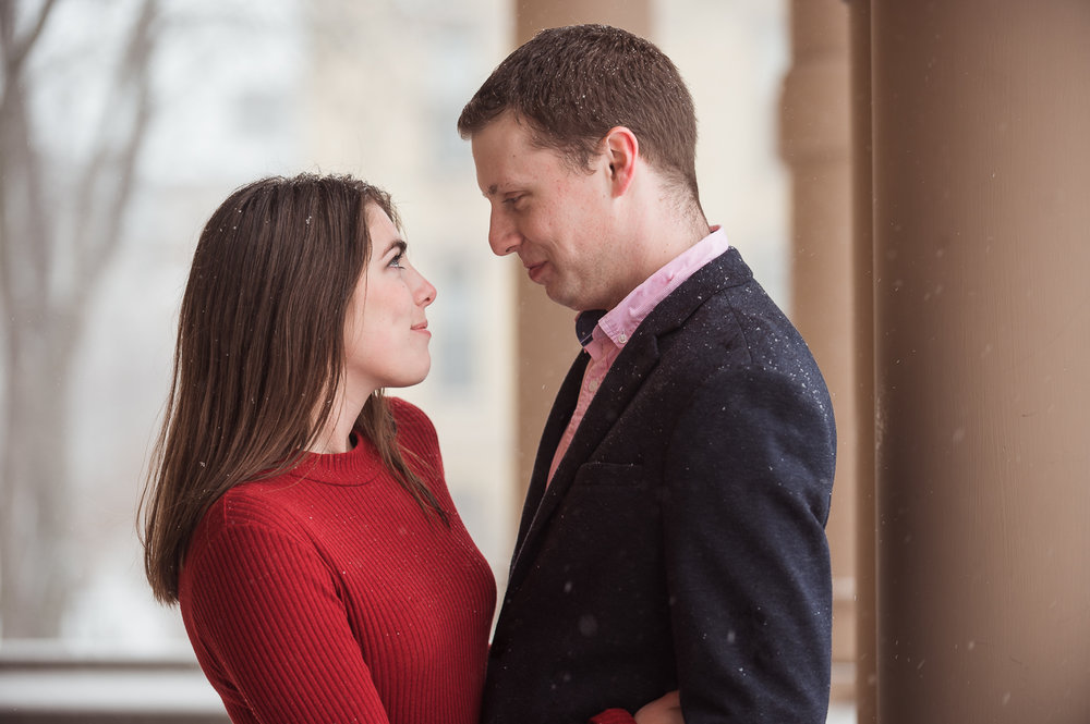 Staring into each other for engagement session photos