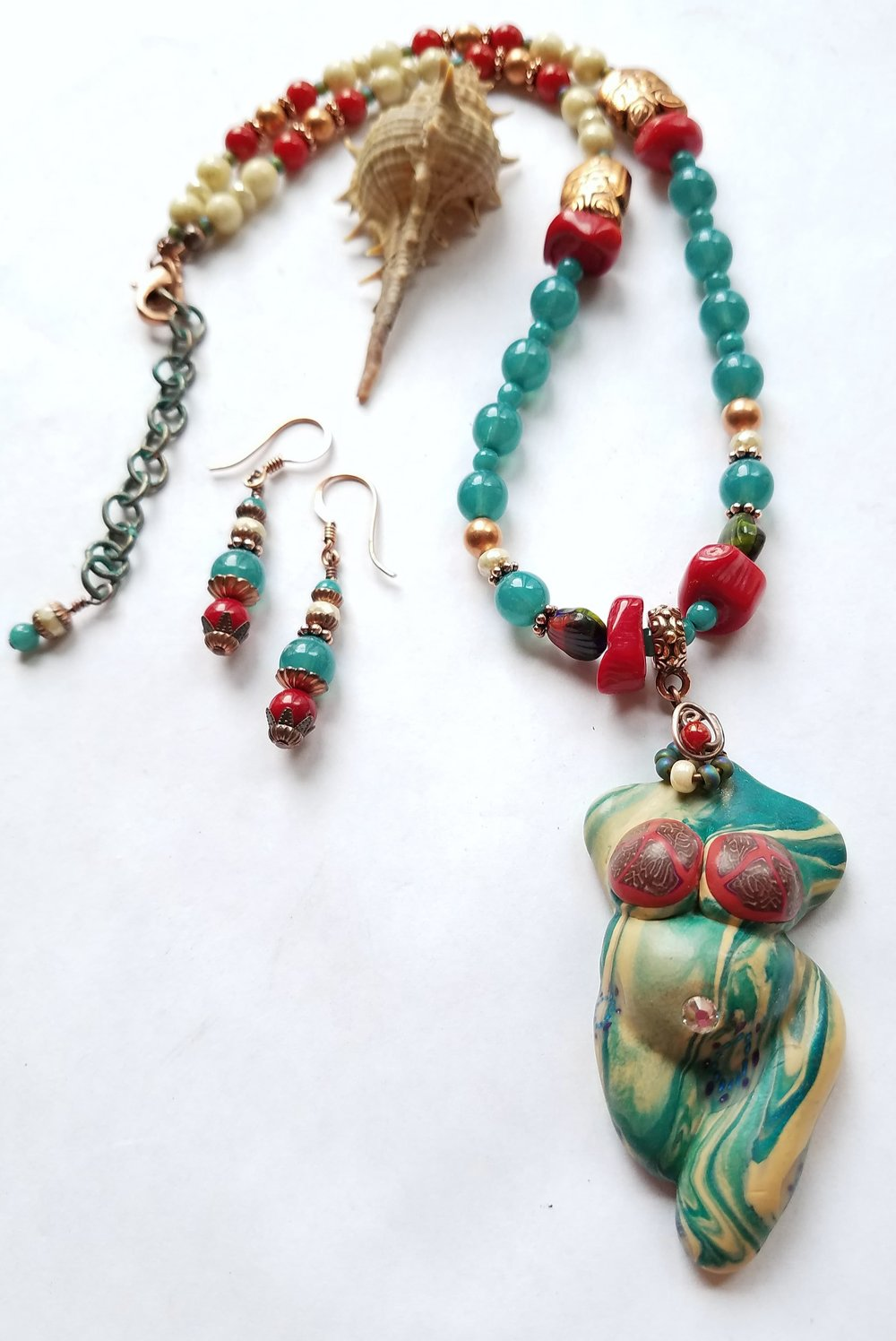 Goddess of Peaceful Seas necklace by Janet Steele Rainey