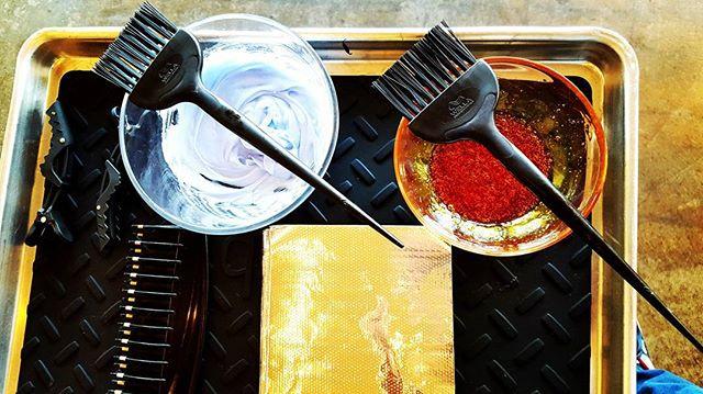 The start to a colorists day.  #colorspecialist @toddsterlingbrn #hair #salonlife #beauty #foils #schwarzkopfpro #redkenshadeseq #asalonofstudiocity #like4like #follow4follow #losangeles #studiocity