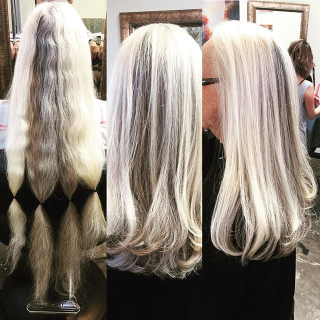 "@ashampoolife #cut about 8""-10"" off!!! So much #texture and #naturalcolor to work with too. #makeover #majorcut #chopchop #longhair #longlayers #platniumblonde #darkgray #blowdry #asalonofstudiocity #studiocity #crafthairdresser #hairbrained_official"