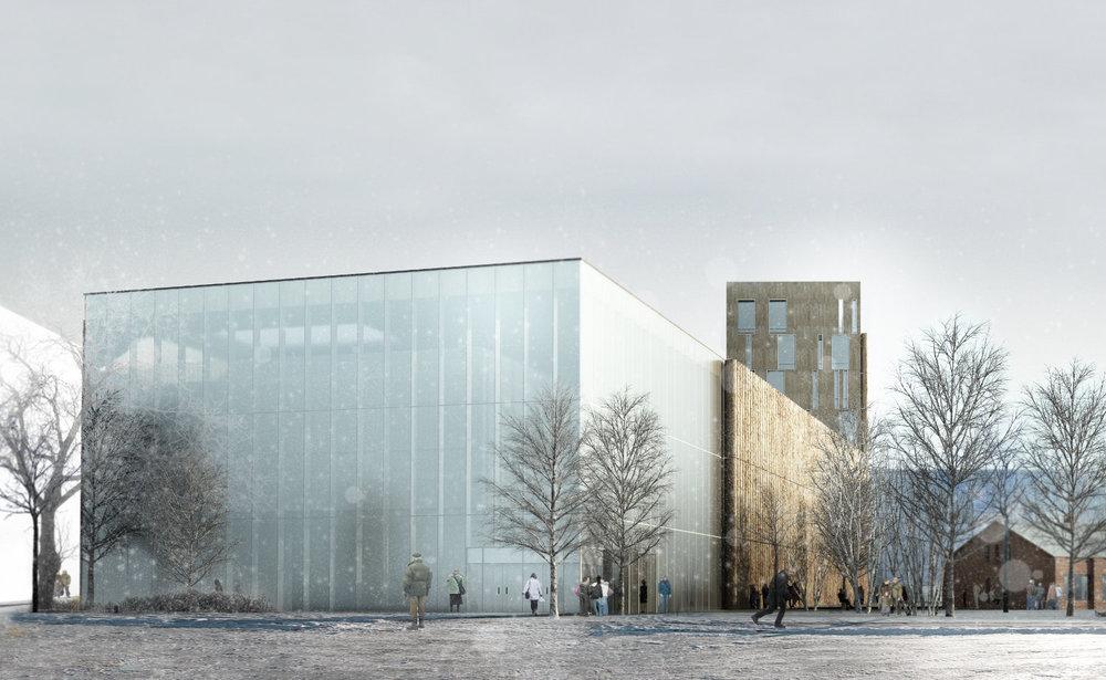 Deux images tirées de notre proposition pour le concours de la bibliothèque centrale de Helsinki en Finlande, projet de Patrick Morand architecte et Fabien Lasserre architecte.