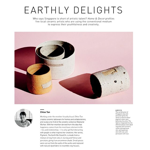 Blessed and humbled by the beautiful feature from @homeanddecor_sg team alongside the many amazing potters I admired.  Been stuck on directions for past months, this little write-up really means a great encouragement ^ ^