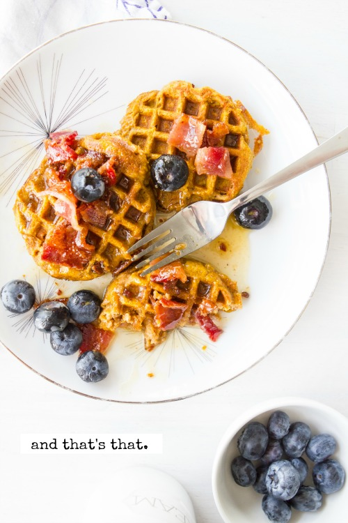 INGREDIENTS: FOR THE WAFFLES: 1/2 cup Banana Flour 1/3 cup almond flour 2 eggs 1/3 cup pumpkin puree 1/4 cup almond milk + 1/2 tbsp vinegar 1 tablespoon pumpkin pie spice 1 teaspoon vanilla 1/4 teaspoon salt 1/4 teaspoon baking powder FOR THE SYRUP: 5 tablespoons butter 5 tablespoons maple syrup (or honey) 3 slices cooked bacon, chopped 1/2 cup blueberries DIRECTIONS: FOR THE WAFFLES: 1. Mix all ingredients together. 2. Spoon batter into a greased Silver Dollar Waffle pan heated to medium-low heat 3. Once the bottom is golden brown, flip and cook the second side. (Use a wooden fork to flip) 4. Cook second side until golden. Serve with syrup.  FOR the SYRUP: 1. Mix butter and maple syrup ingredients together. 2. Microwave on high until boiling. 3. Remove, toss in bacon and blueberries. 4. Spoon atop cooked waffles. Enjoy!