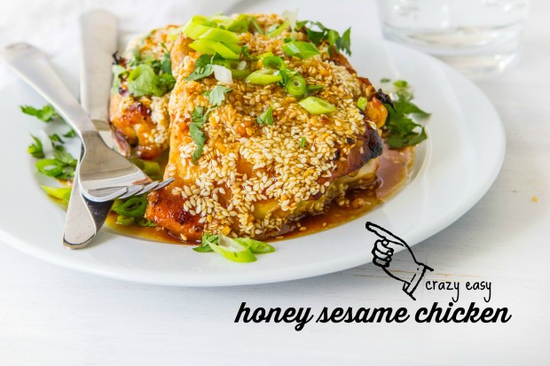 GRILLED HONEY SESAME CHICKEN  INGREDIENTS:  2 tablespoons chopped garlic 1/4 cup tamari (or soy sauce) 1/2 cup raw honey 1/4 cup vinegar (white or apple cider) 6 chicken thighs 1/4 cup sesame seeds 2 green onions, diced  DIRECTIONS:  1. Whisk together garlic, 3 tablespoons tamari, 1/4 cup honey, and vinegar. 2. Pour it all over the chicken. 3. Go out and preheat your grill to medium high. 4. When the grills ready, the chicken is ready. 5. Flatten each chicken thigh out on your grill. Top side down first. 6. As the chicken cooks, spoon the sauce over the chicken to baste it. 7. Flip the chicken. 8. In a small bowl, stir together tamari, remaining honey, and sesame seeds. 9. When you think the chicken is cooked through (about 5-6 minutes on the second side), Spoon the sesame mixture over the top of the chicken. Allow to cook for 1-2 minutes more. 10. Let the chicken sit for 5 minutes before forking it into your face.