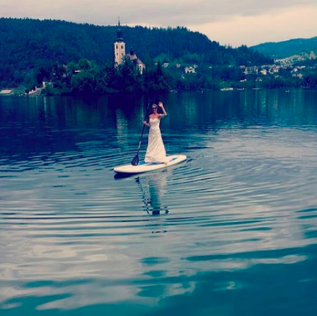 Paddleboarding in Lake Bled