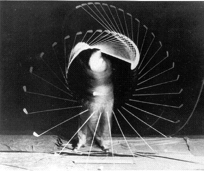 The Physics of the Golf Swing: The figure above shows a strobe picture taken of Bobby Jones golf swing, in the 1940s (source: http://www.clubmaker-online.com/bj003.gif)