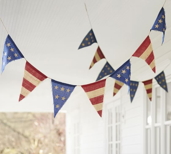 Americana Burlap Party Banner -  Pottery Barn