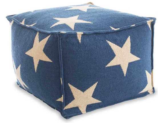 Star Navy Indoor/Outdoor Pouf - Dash and Albert