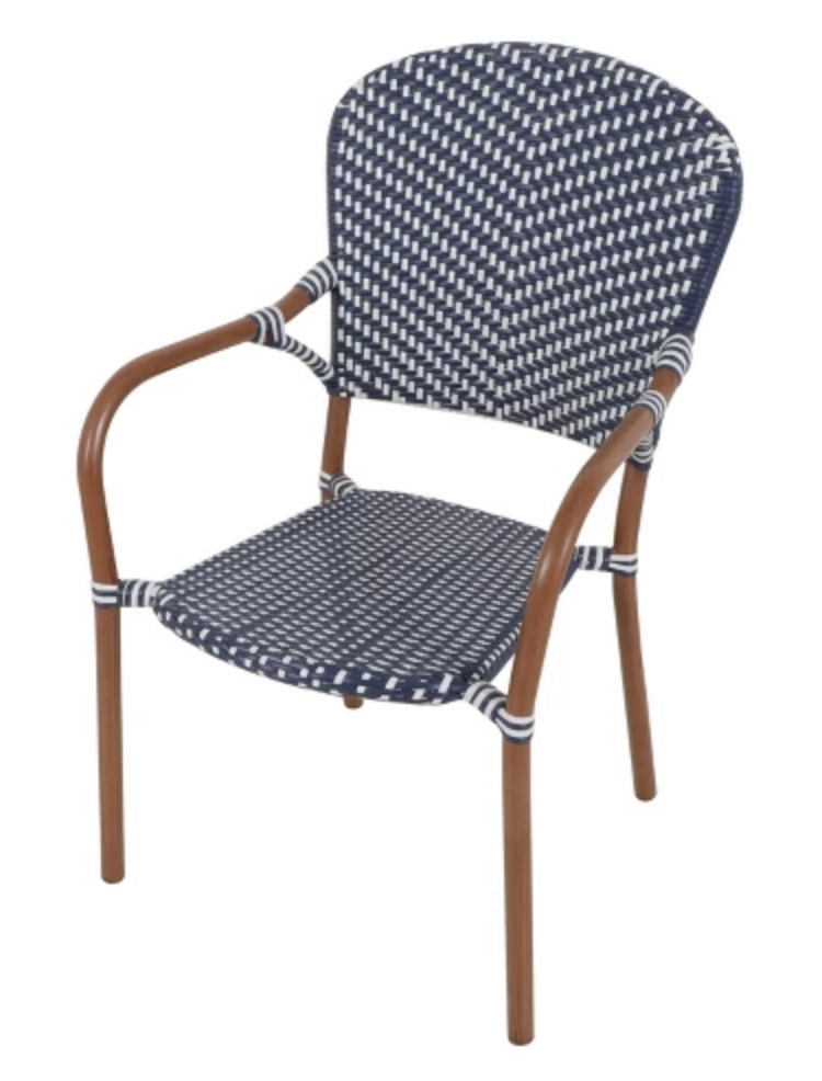 Save - For a more weather friendly chair, try this one from Target.  They are easy to clean, have a rust resistant frame, and require less upkeep. You're just missing that beautiful bamboo frame! (sigh*) Find these here for $59.
