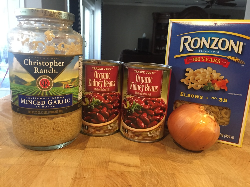 Ingredients: Garlic, Kidney Beans, Onion and Pasta. Not pictured: Olive Oil, Oregano, Parsley