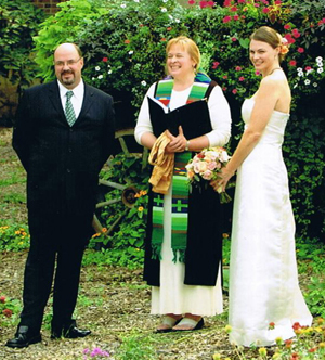 Rev. Rebecca at a garden wedding