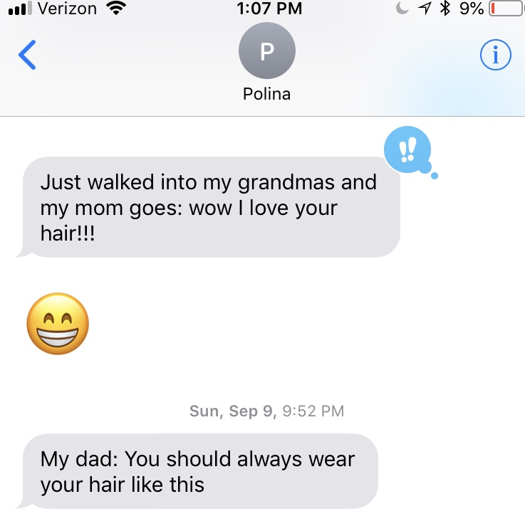 Texts from the client (left) after we finalized her sessions with a haircut.