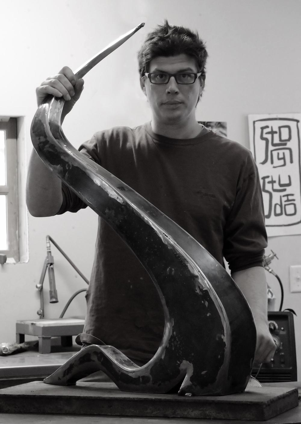 Justin in his studio