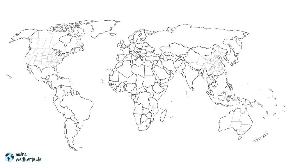 GRENZEN+BUNDESSTAATEN  Bei großen Länder wir die USA oder Kanada sind die Bundesstaaten mit eingezeichnet.