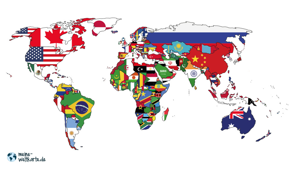 FARBIGE WELTKARTEN  Alle unsere Weltkarte lassen sich auch farbig ausdrucken, egal ob die bunte Karte mit den Flaggen oder eine einfarbiger Karten mit Ländernamen. Alles ist möglich.