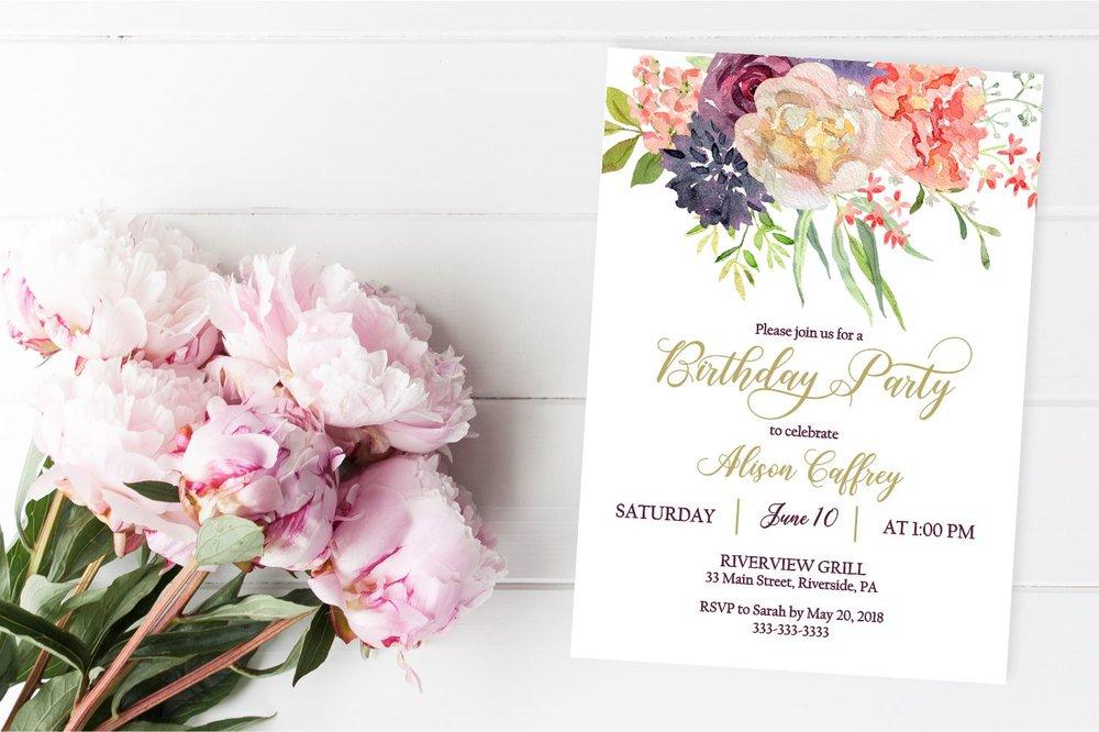 marsala floral birthday invitation