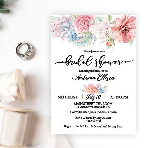 Succulents and floral bridal shower invitation magnolia street succulents and floral bridal shower invitation filmwisefo