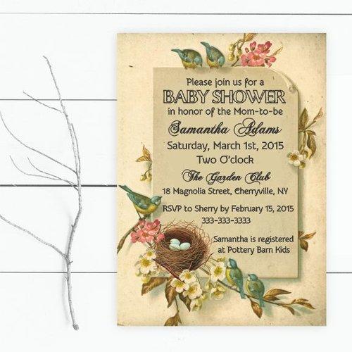 Bird baby shower invitation magnolia street paperbird baby shower bird baby shower invitation filmwisefo