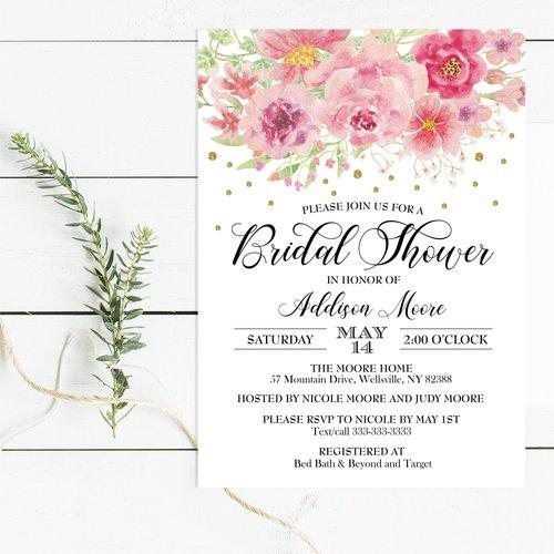 Pink floral bridal shower invitation magnolia street paperpink pink floral bridal shower invitation filmwisefo