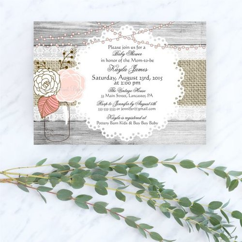 Rustic Mason Jar Baby Shower Invitation Girl
