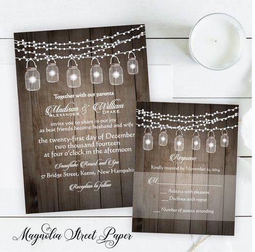 Rustic Barn Wood Mason Jar and String of Lights Wedding Invitation ...
