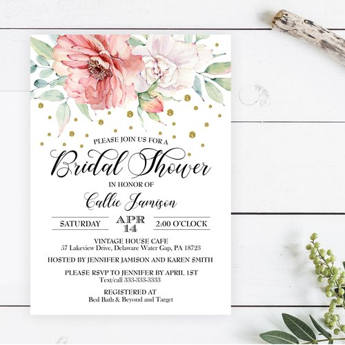 blush pink and gold bridal shower invitation