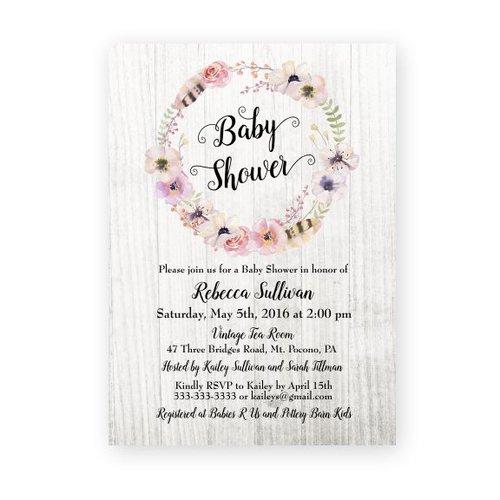 Floral boho baby shower invitation magnolia street paperfloral floral boho baby shower invitation filmwisefo