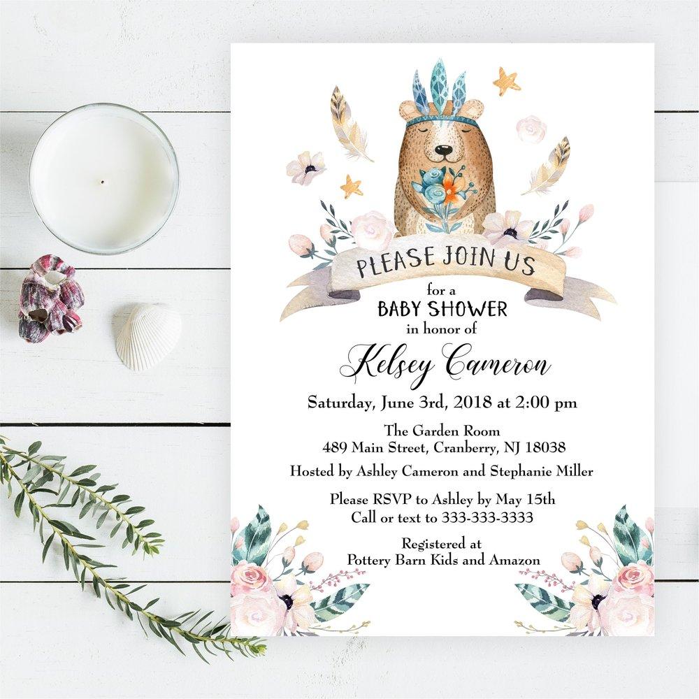 Boho Bear Baby Shower Invitation Magnolia Street PaperBoho Bear