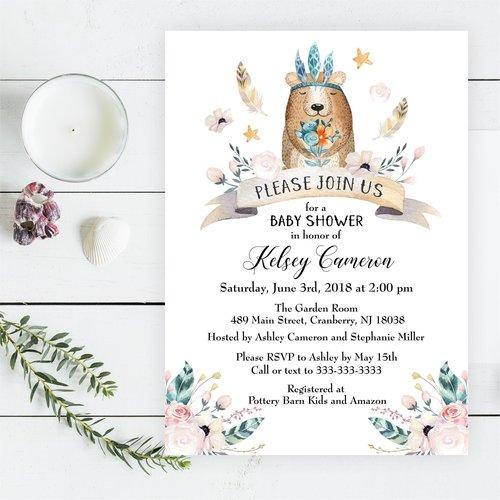 Boho bear baby shower invitation magnolia street paperboho bear boho bear baby shower invitation filmwisefo