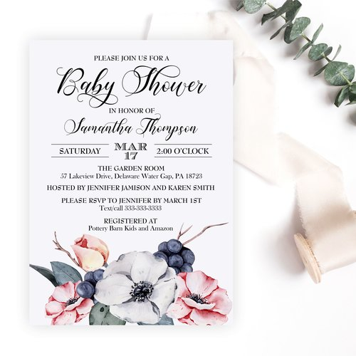 Dusty blue and pink baby shower invitation magnolia street dusty blue and pink baby shower invitation filmwisefo