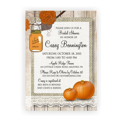 Fall pumpkin and mason jar bridal shower invitation magnolia fall pumpkin and mason jar bridal shower invitation filmwisefo