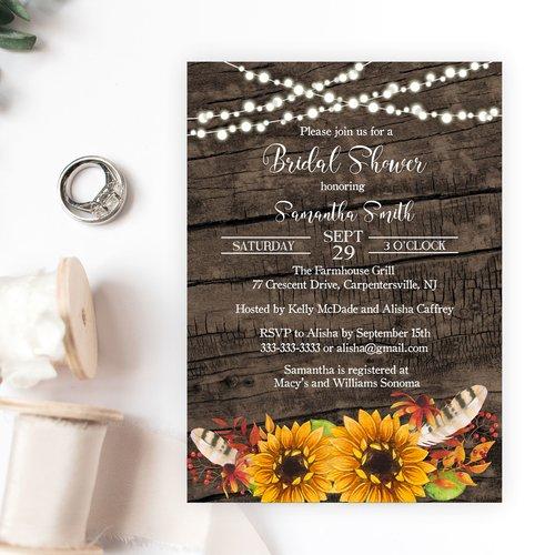 rustic sunflower bridal shower invitation magnolia street