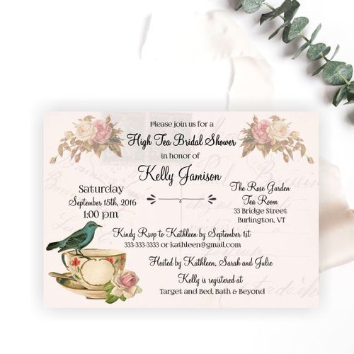 vintage high tea bridal shower invitation