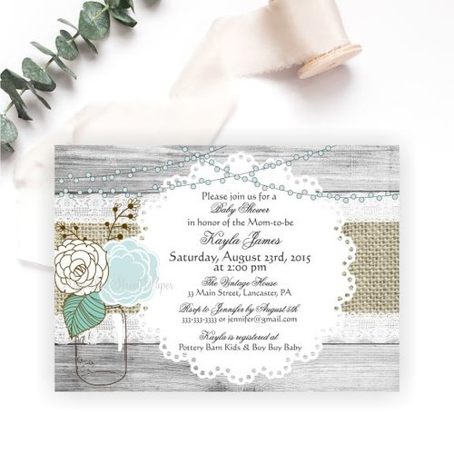 Rustic Mason Jar Baby Shower Invitation Baby Boy Magnolia Street
