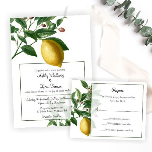 botanical lemon tree wedding invitation magnolia street