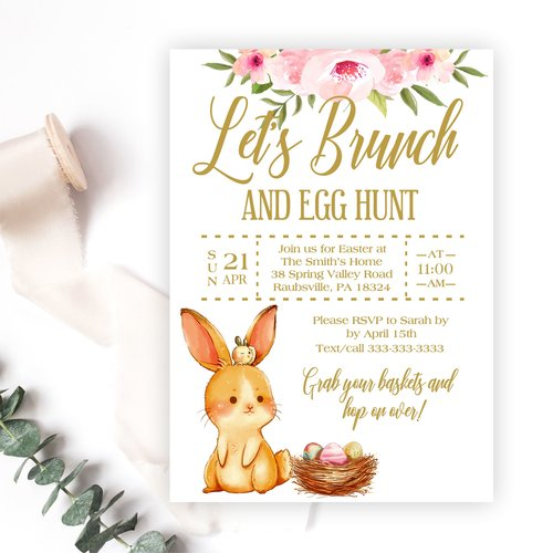 Easter Brunch and Egg Hunt Invitation. easterbunnybrunchinvite.jpg