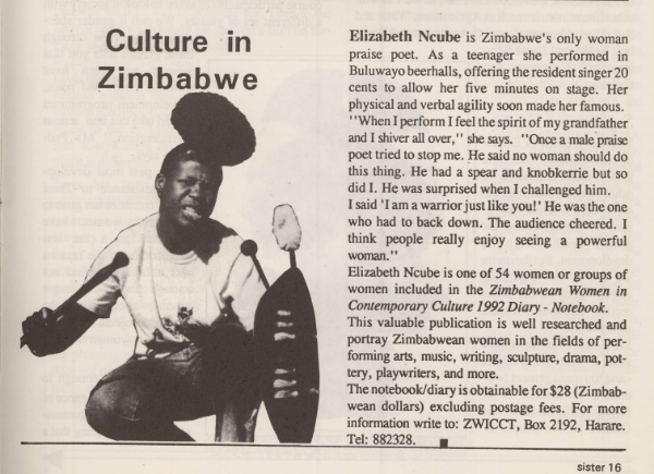 A review of ZWICCT's publication in an issue of  Sister Namibia, Vol 4 Number 1, 1992