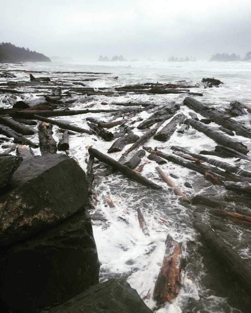 High waves pushed logs up on North Chesterman Beach in Tofino on Thursday, Jan. 18, 2018. Photograph By APRIL FROMENT Source  The Times Colonist