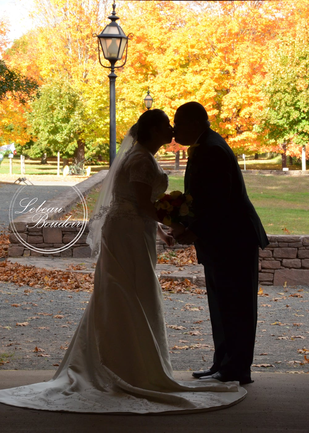 silhouette fall wedding