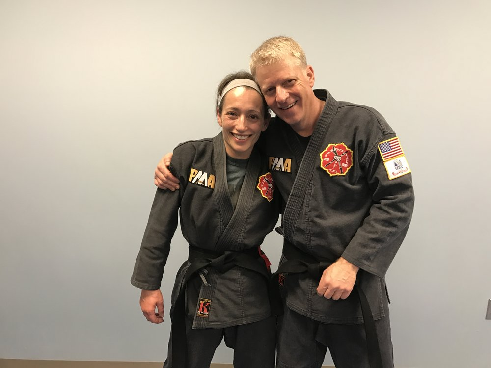 Gary and his Black Belt candidate partner, Linda Davis, after receiving their Black Belts on February 19, 2017.