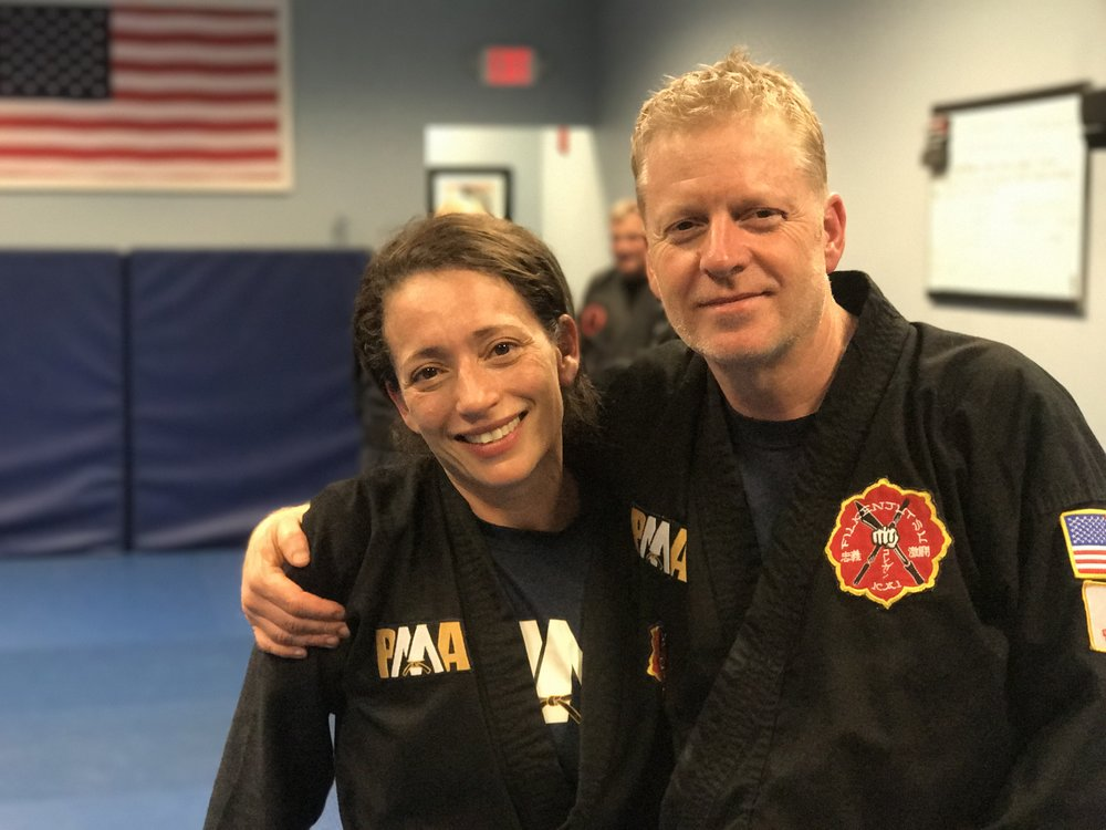 FILKENJUTSU KAI's most recent Black Belt candidates, Gary Hall and Linda Davis.