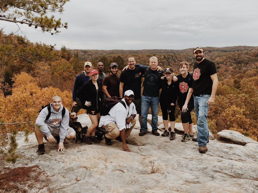 Gary, with some of his PMA family on a hike in the Fall of 2015.