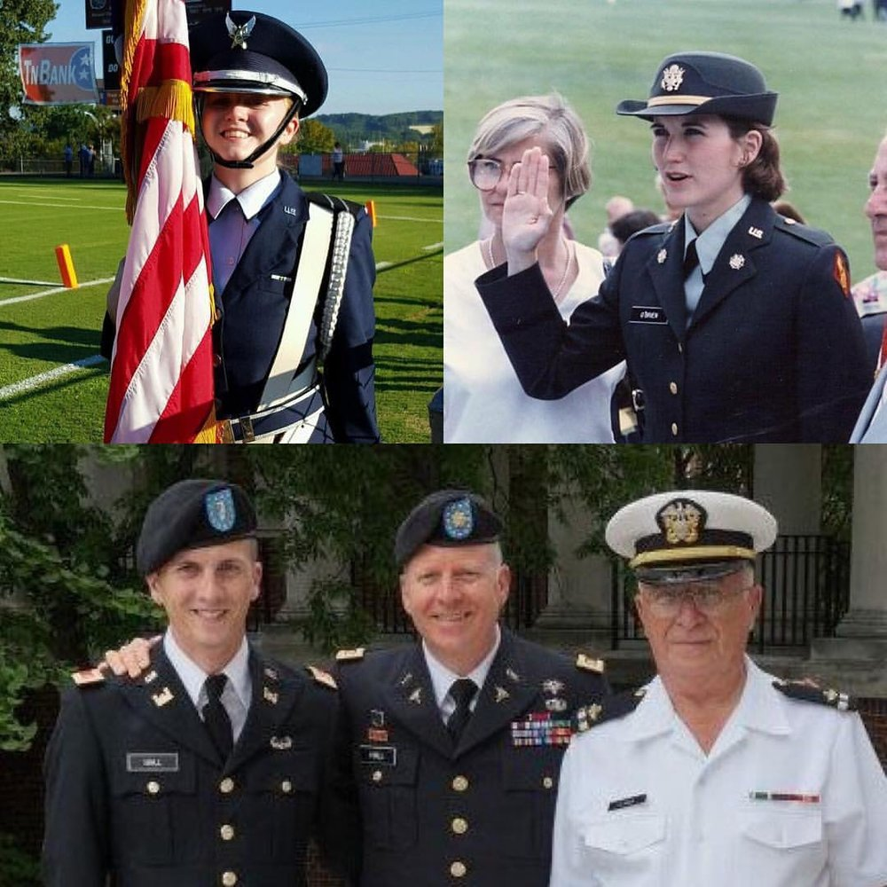 An American military family. Gary's daughter, Gracie (also PMA Black Belt), pictured in top left is in the Air Force ROTC, his wife, Kat, is pictured top right and was a graduate of West Point, and Gary is pictured in the middle of the bottom photo with his son, Nate (US Army), and father who is a retired Navy warrant officer.