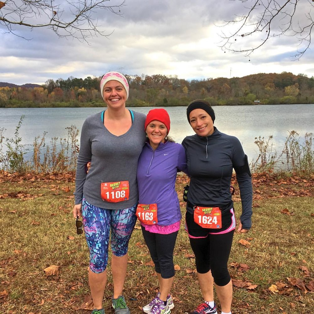 Linda with two of her training partners, Brittany and Kristie, at the Secret City Half Marathon.