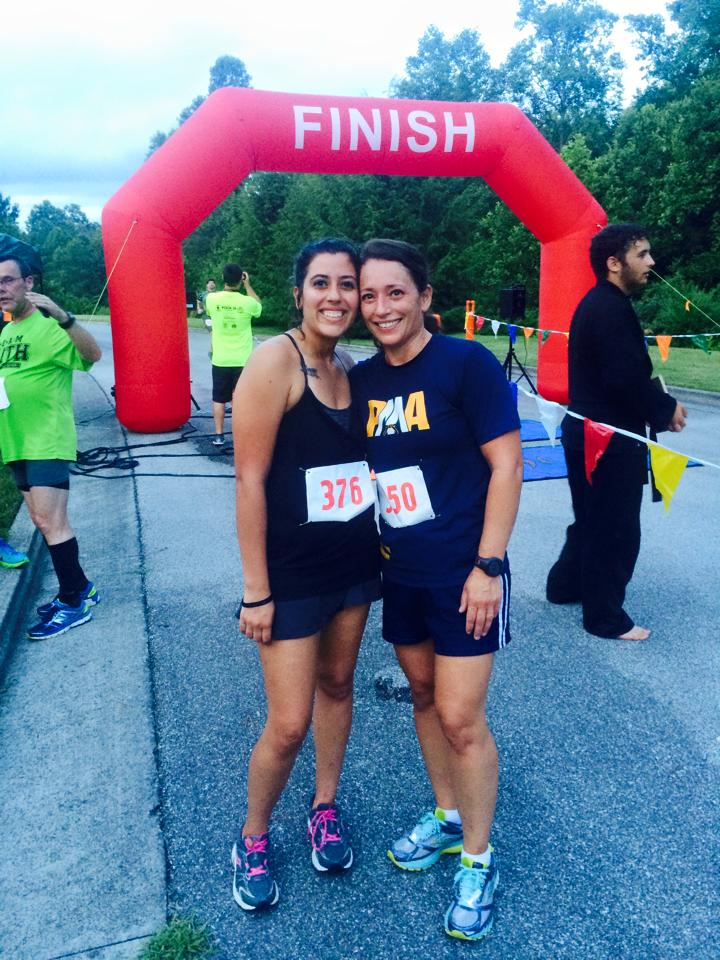 Linda and her sister, Tanairi, after running in the Ninja 5K.