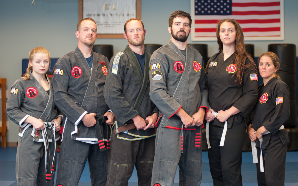 From left to right: Sempai Madelyn Fowler (2nd Degree Black Belt in FILKENJUTSU), SiHing Terry Alcorn (3rd Degree Black Belt in FILKENJUTSU), Sempai Matt Thomas (Brown Belt in FILKENJUTSU), SiFu David Corrigan (5th Degree Black Belt in FILKENJUTSU), Sempai Brittany Corrigan (Black Belt Candidate in FILKENJUTSU), and Sempai Kristie Fox (Black Belt Candidate in FILKENJUTSU). Photo credit to Julio Culiat.