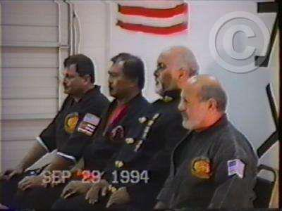 From left to right, SiJo Bruce Corrigan, SiJo Victor Gascon, SiJo Walter Godin, and Professor Nick Cerio at SiJo Bruce's Kenpo school in Virginia, 1994.