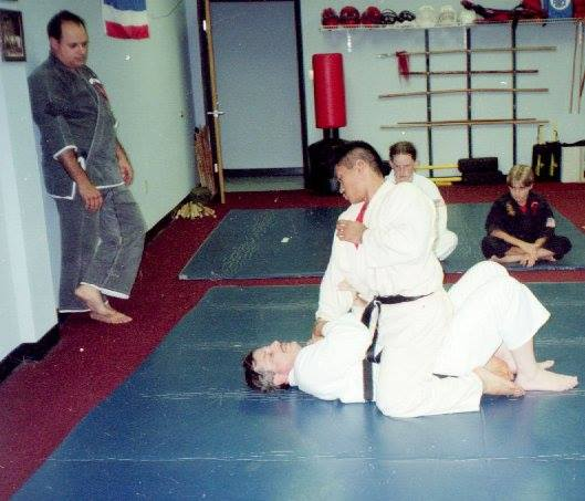 SiJo Bruce Corrigan teaching a Jiu Jitsu class after Kenpo in the early 1990s. At the time, he would fly to California to learn Brazilian Jiu Jitsu from Rorion Gracie as it was not available in many places yet!
