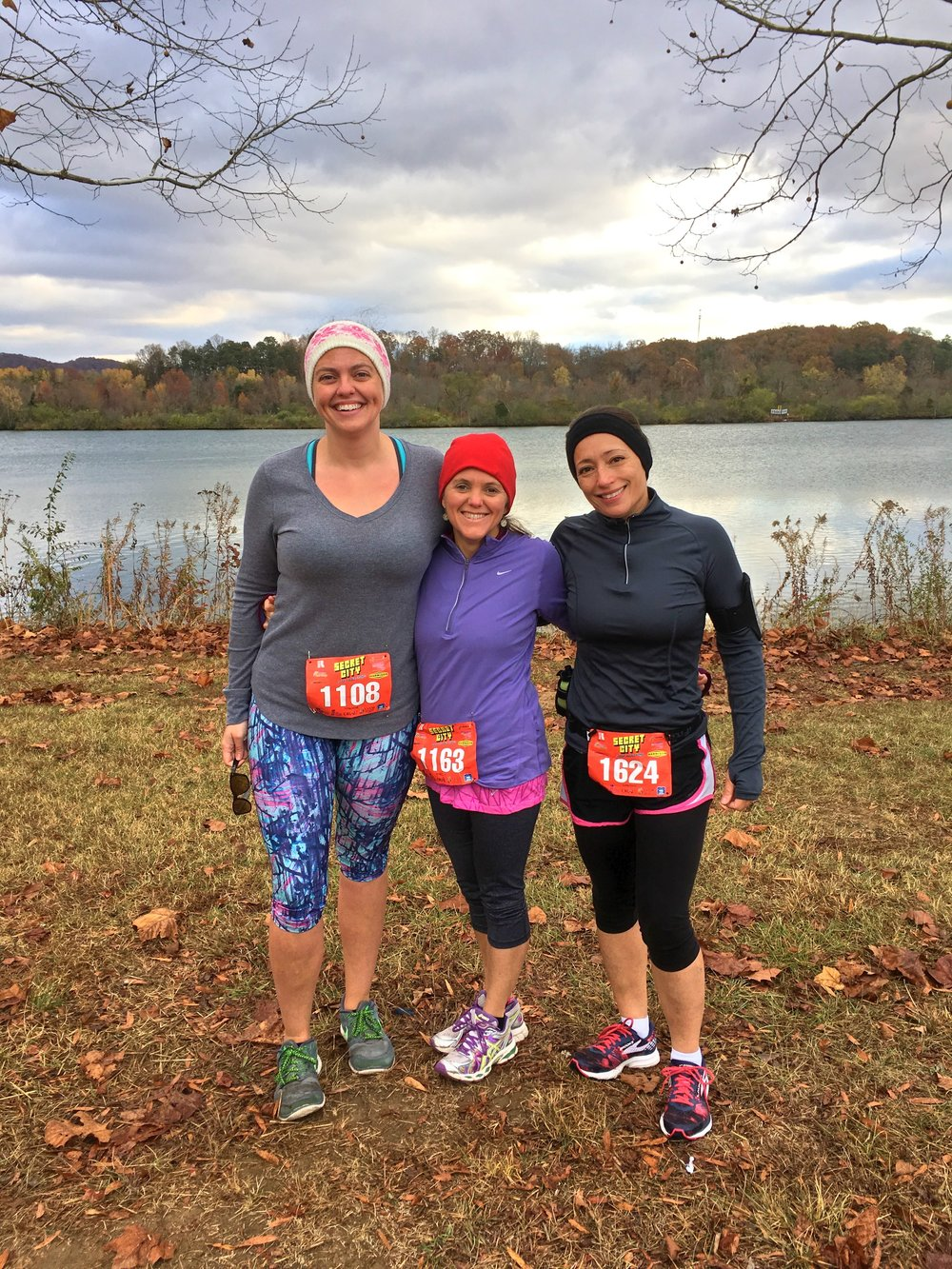 Kristie with friends and training partners, Brittany Corrigan and Linda Davis before running the Secret City Half Marathon.