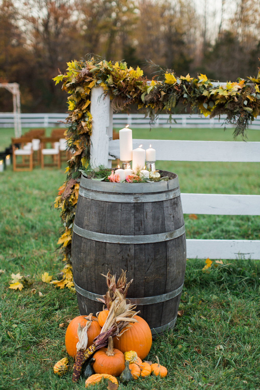Fall decor for an outdoor ceremony
